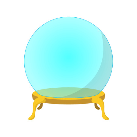 Empty glass ball cartoon icon. Magician symbol on a white background