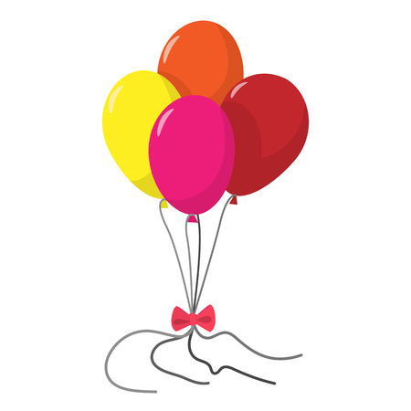 red balloons: 4 balloons cartoon icon. Red, yellow, pink and orange ballons with bow on a white background