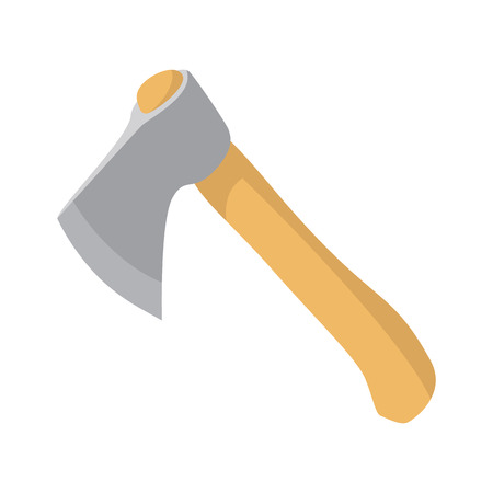 cartoon axe: Ax cartoon icon. Traveller equipment. Single symbol on a white Illustration