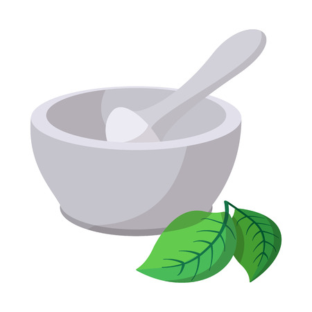 Grinding herbs bowl cartoon icon. With green herbal leaf. Isolated on white background Illustration