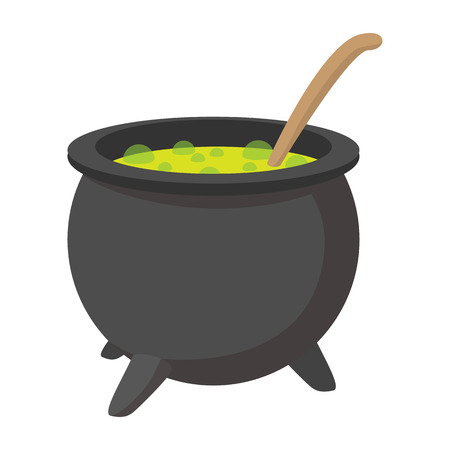 vat: Witching vat cartoon icon. Halloween symbol isolated on a white background