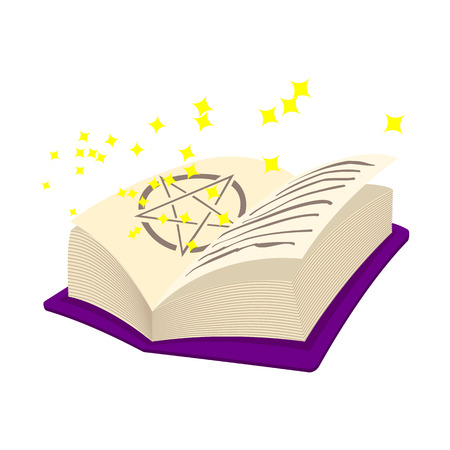 spells: Magic book of spells open with stars cartoon icon. On a white background