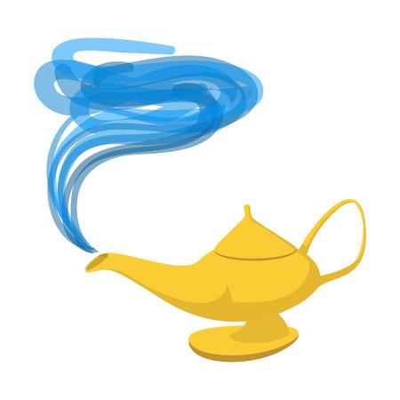 ランプのアラジンの漫画のアイコン。白い背景の上の魔法のシンボル