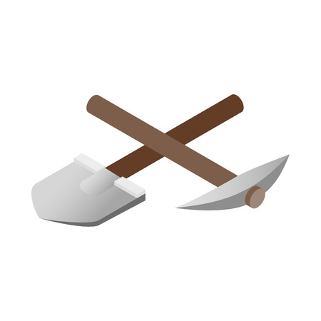 pickaxe: Crossover pickaxe shovel 3d isometric icon isolated on a white background Illustration