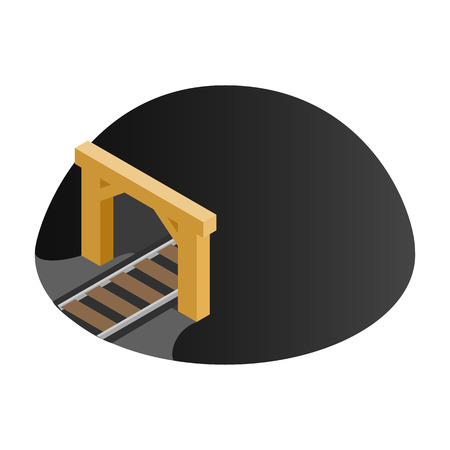 Railway tunnel 3d isometric icon isolated on a white background