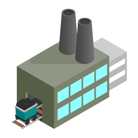 nonrenewable: Coal plant 3d isometric icon isolated on a white background