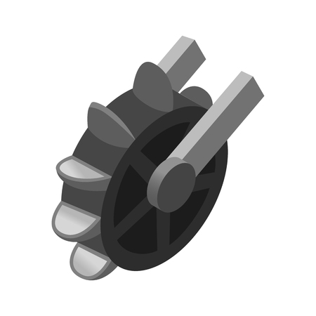 휠 공장 아이소 메트릭 3D 아이콘은 흰색 배경에 고립