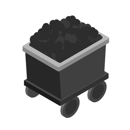 Trolley with coal 3d isometric icon isolated on a white background