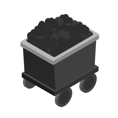 Wózek z węgla 3d izometryczny ikony samodzielnie na białym tle