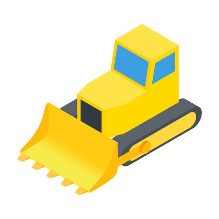 bulldozer: Bulldozer 3d isometric icon isolated on a white background