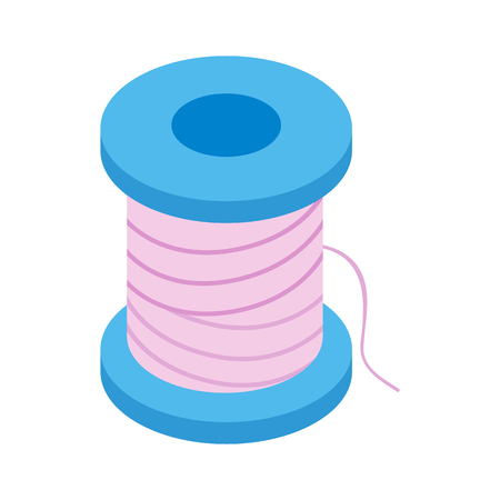 coil: Coil with a thread 3d isometric icon isolated on a white background Illustration