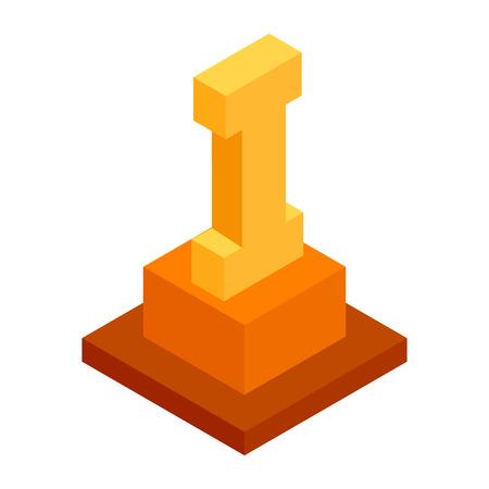 first place: En primer lugar icono 3d isométrica sobre un fondo blanco Vectores