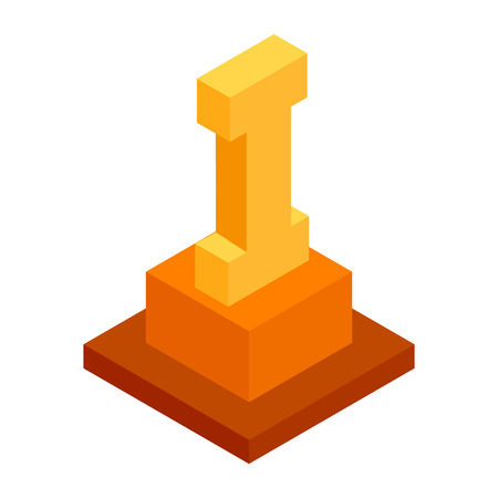 first place: First place isometric 3d icon on a white background