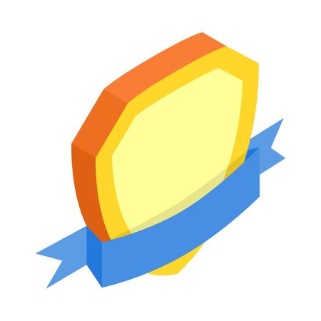 escudo: Blindaje del oro con la cinta azul del icono 3d isométrica sobre un fondo blanco