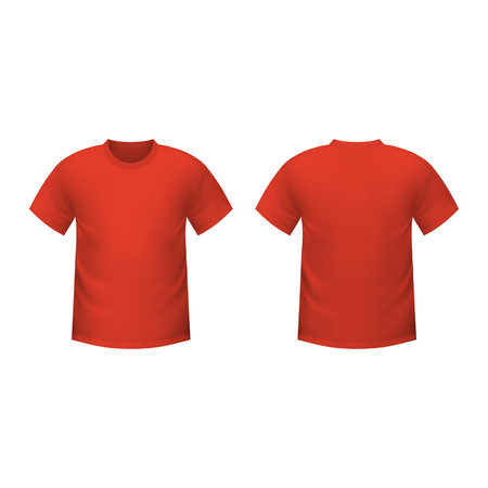 men shirt: Realistic red t-shirt on a white background
