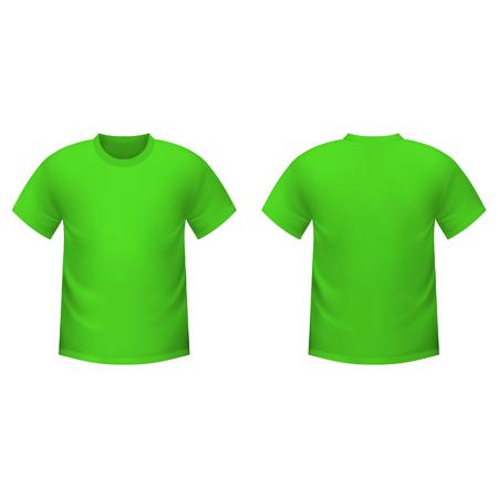 camiseta: Realista camiseta verde sobre un fondo blanco Vectores