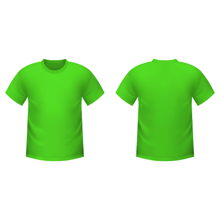 men shirt: Realistic green t-shirt on a white background Illustration