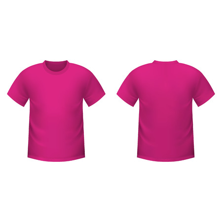 short sleeved: Realistic pink t-shirt on a white background
