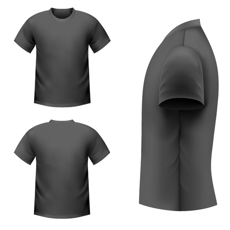 men shirt: Realistic black t-shirt on a white background