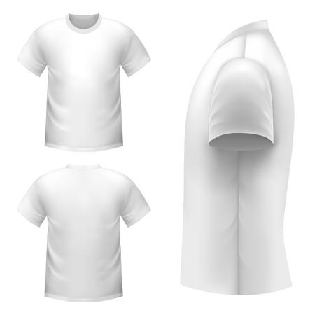 Realista camiseta blanca sobre un fondo blanco