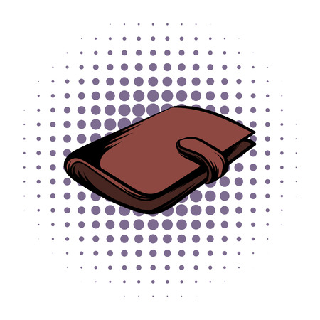 money wallet: Brown wallet with card and cash comics icon on a white background Illustration