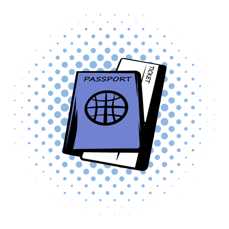 airway: Passport with tickets comics icon on a white background