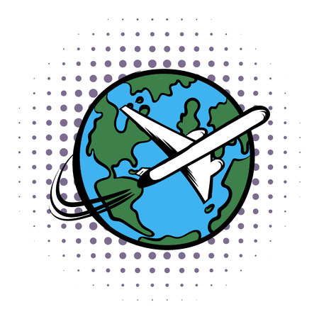 traveling: Traveling by a plane comics icon on a white background