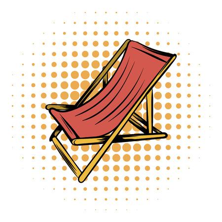 흰색 배경에 목조 해변의 쉐즈 만화 아이콘