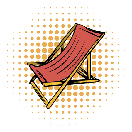 beatitude: Wooden beach chaise comics icon on a white background