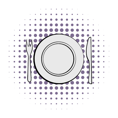 formal place setting: Cutlery set with plate comics icon on a white background Illustration