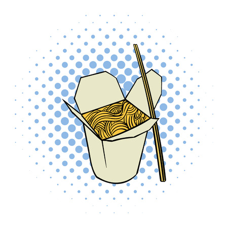 chinese take away container: Chinese noodle in box comics icon on a white background