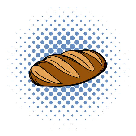 flax seed: Fresh bread can comics icon on a white background. Loaf Illustration