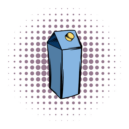 liter: Milk or juice carton box comics icon on a white background Illustration