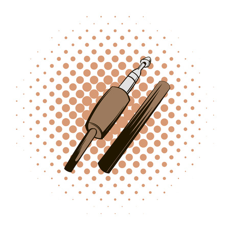 connector: Audio jack connector comics icon on a white background