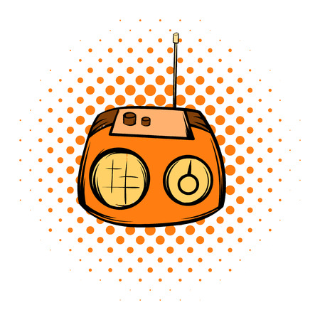 fm: Boom box or radio cassette tape player comics icon on a white background Illustration