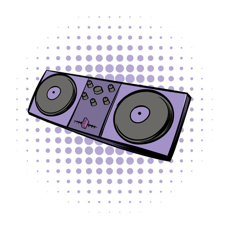 mixing: Musical modern instrument mixing console comics icon on a white background