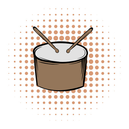 snare drum: Drum and drumsticks comics icon on a white background