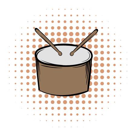 tambor: Tambor y baquetas icono de cómics sobre un fondo blanco