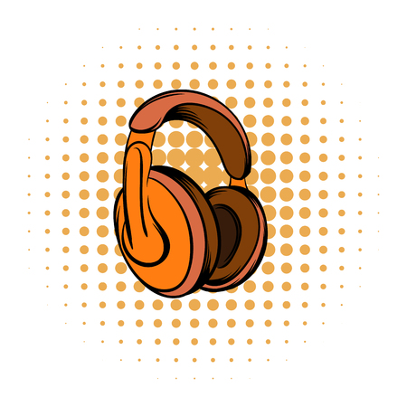 listening to music: Orange headphones comics icon on a white background Illustration