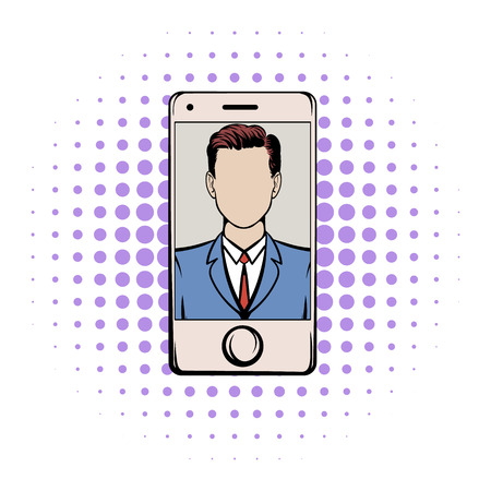 background skype: Smart phone with a skype video comics icon on a white background Illustration