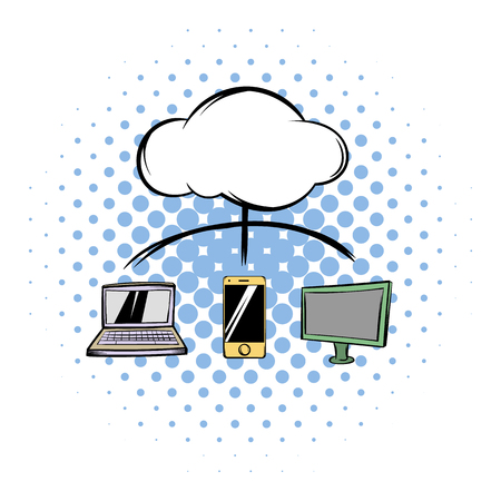 blue sky with clouds: Cloud-computing connection comics icon on a white background Illustration