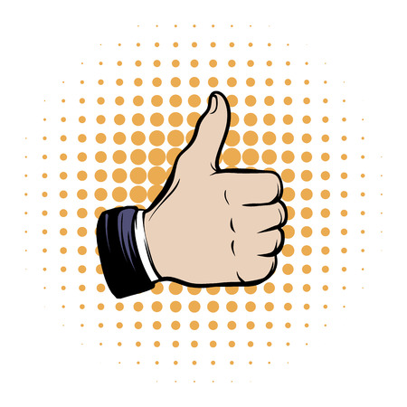 okey: Hand doing a thumb up comics icon on a white background