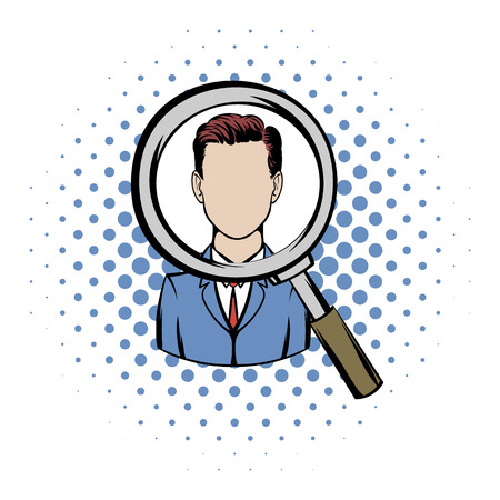recruitment icon: Magnifying glass focused on a person comics icon on a white background
