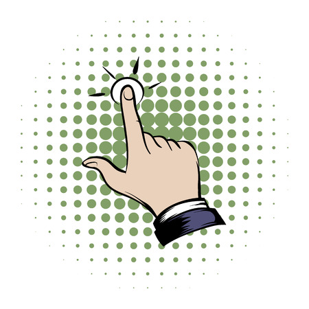 click with hand: Click hand comics icon on a white background Illustration