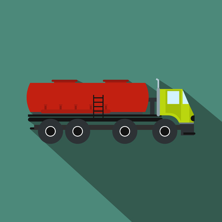 trucks: Truck with fuel tank flat icon on a blue background
