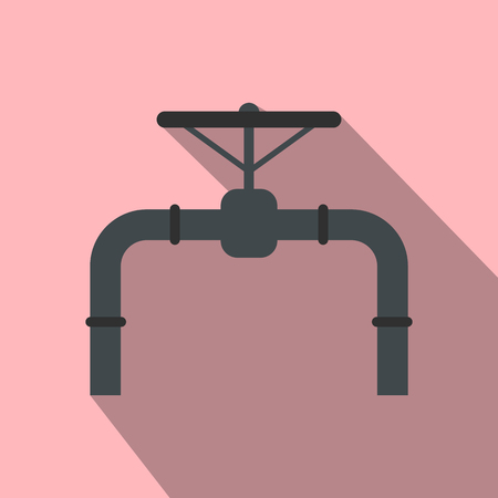 shutoff: Pipeline with valve and handwheel flat icon on a pink background