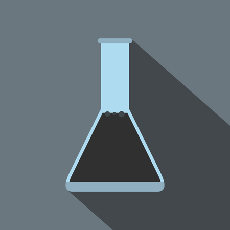 conical: Conical flask test tube with oil flat icon on a grey background