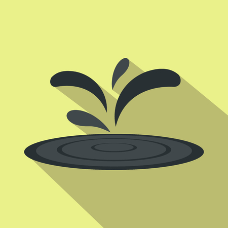 chemical spill: Black oil spill flat icon on a yellow background