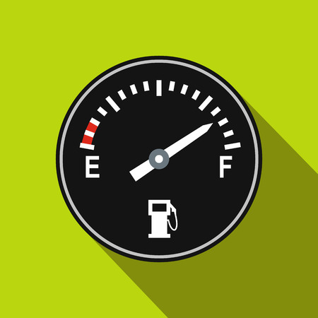 fuel gauge: Fuel gauge flat icon on a green background