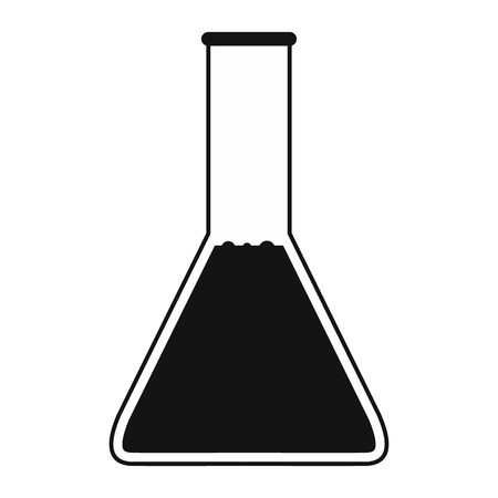 conical: Conical flask test tube with oil black simple icon Illustration